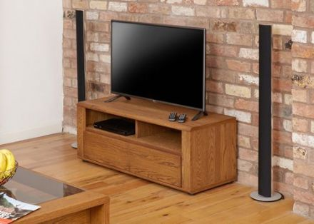 Olten Dark Oak Small Widescreen TV Cabinet with Two Drawers